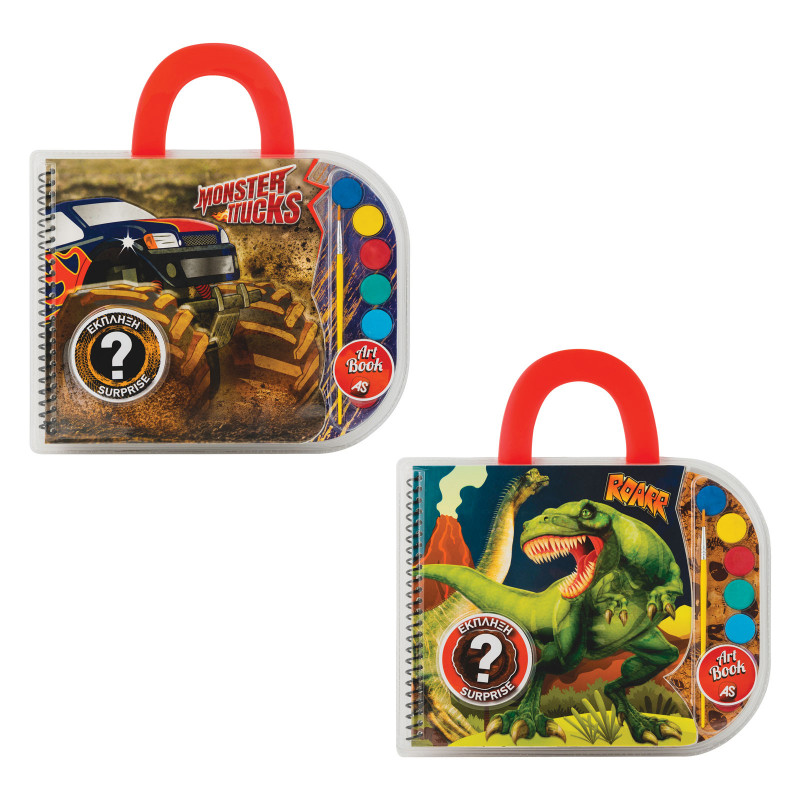 ΣΕΤ ΖΩΓΡΑΦΙΚΗΣ ART BOOK DINOSAURS  MONSTER TRUCKS (ASSRT)