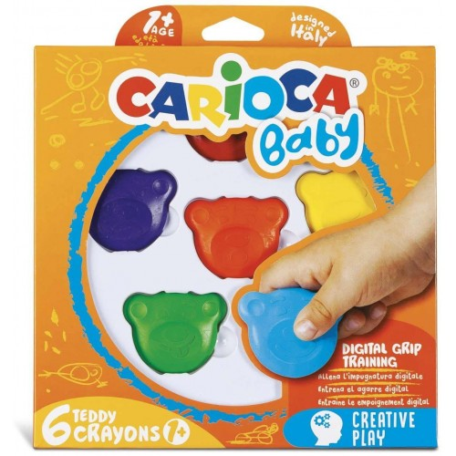 CARIOCA BABY TEDDY CRAYONS ΣΧΗΜΑ ΑΡΚΟΥΔΑΚΙ ΠΡΟΣΧΟΛΙΚΗΣ ΗΛΙΚΙΑΣ 1 (6 ΤΕΜ)